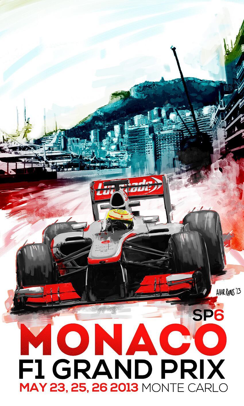 постер Гран-при Монако 2013 Серхио Перес и McLaren