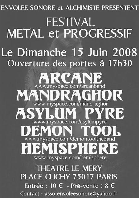 Demon Tool / Asylum Pyre / Mandraghor / Arcane @ Théâtre Le Méry, Paris 15/06/2008