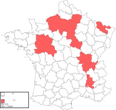 Carte du nombre de carrières de pierre calcaire par département dans les essais de Rondelet