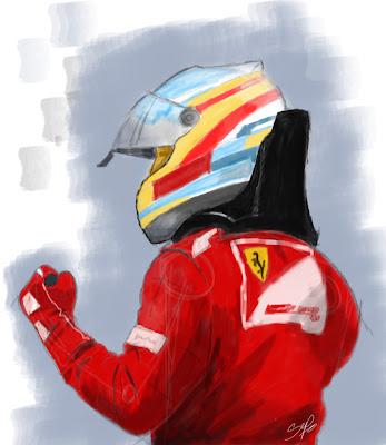 Фернандо Алонсо берет поул в дождевой квалификации на Гран-при Германии 2012 - рисунок by Septor-BF109