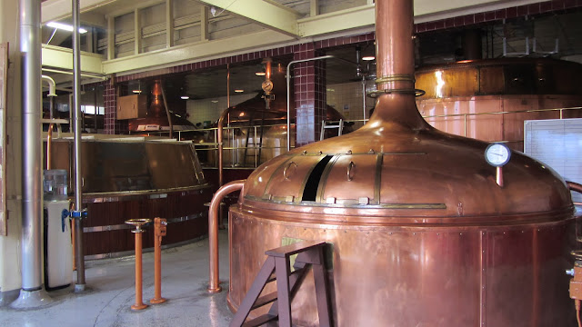 Inside the brewery - these copper vats are still in use.