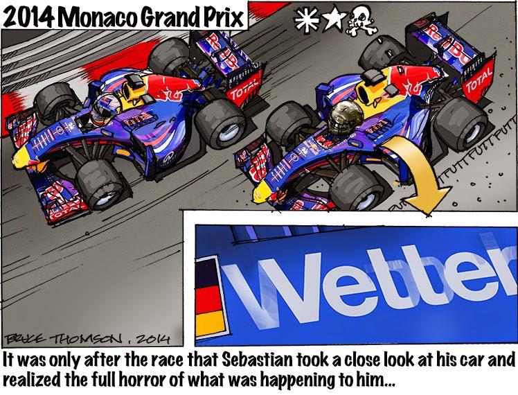 Себастьян Феттель обнаруживает себя в машине Уэббера - комикс Bruce Thomson по Гран-при Монако 2014