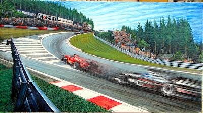Мика Хаккинен преследует Михаэля Шумахера в О Руж на Гран-при Бельгии 2000
