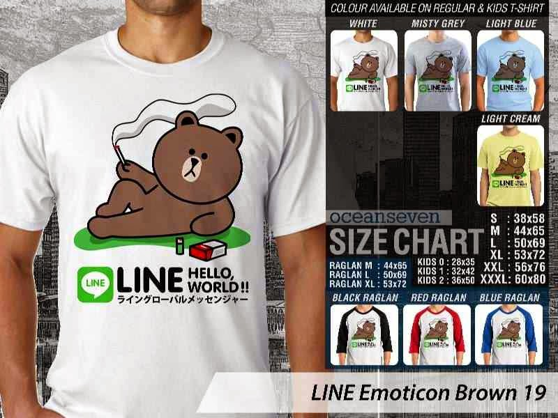 KAOS IT LINE Emoticon Brown 19 Social Media Chating distro ocean seven