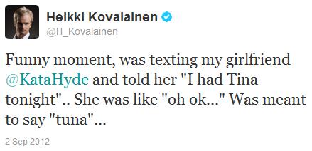 Хейкки Ковалайнен в твиттере на Гран-при Бельгии 2012
