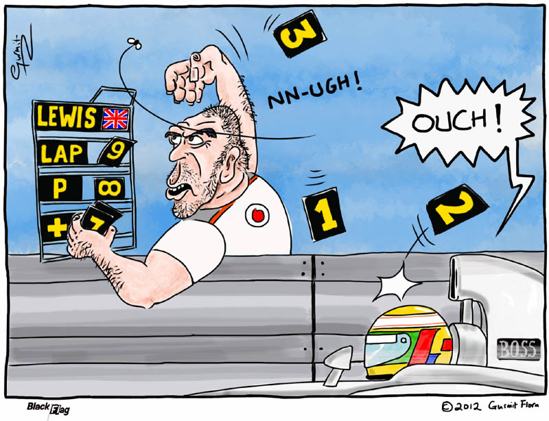 Льюис Хэмилтон ловит цифирки с табличек механика McLaren на Гран-при Монако 2012 - комикс Black Flag