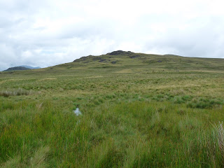 After leaving my car on the Ulpha to Eskdale road near the Woodend Farm turning my way ahead was to aim for Rough Crag in the distance across wet and boggy ground. It certainly was not easy and it was impossible to keep a straight line. Great Worm Crag and just be seen on the right.