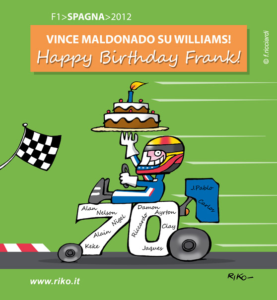 Пастор Мальдонадо приносит победу Фрэнку Уильямсу на 70-летие на Гран-при Испании 2012 - комикс Riko