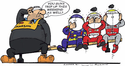 маршал и гонщики Себастьян Феттель Фернандо Алонсо Льюис Хэмилтон на скамейке Монреаля на Гран-при Канады 2011 комикс Jim Bamber