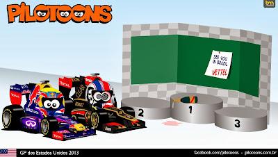 Себастьян Феттель вновь впереди всех - комикс pilotoons по Гран-при США 2013