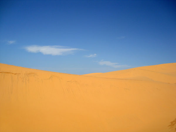 Ảnh bãi cát vàng và bầu trời xanh thật đẹp