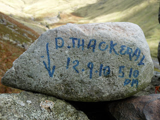 Stone on path back to Wasdale