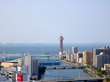 View of the Hakata Port Tower, from the top of the ACROS center in Fukuoka