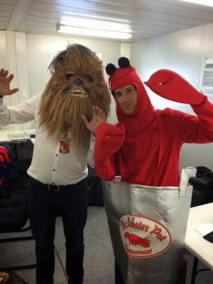 Дэвид Крофт Вуки и Бруно Сенна в костюме лобстера на Гран-при США 2014