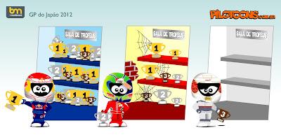Себастьян Феттель Фелипе Масса Камуи Кобаяши с трофеями Сузуки - pilotoons по Гран-при Японии 2012
