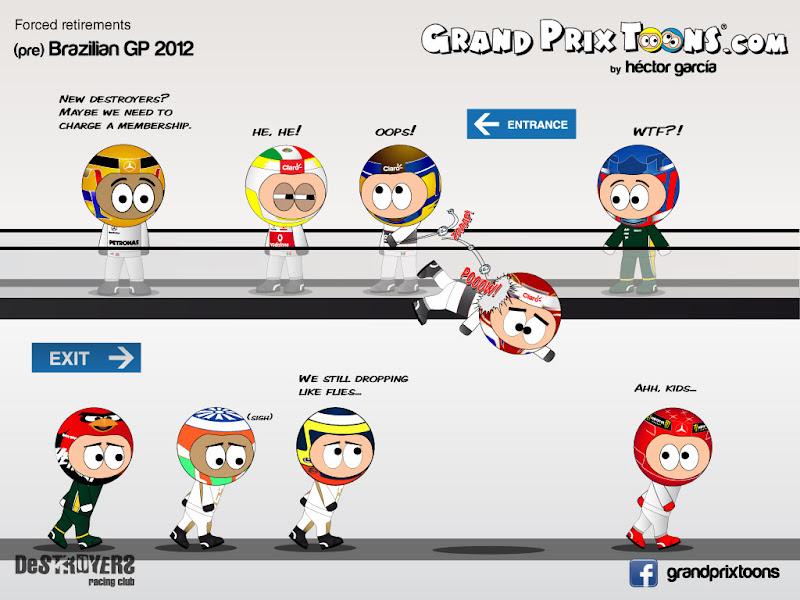 Forced retirements - комикс Grand Prix Toons перед Гран-при Бразилии 2012
