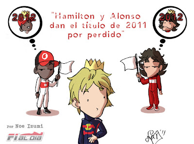 Комикс от Noe Izumi. Льюис Хэмилтон, Фернандо Алонсо и Себастьян Феттель на Гран-при Европы 2011