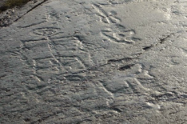 Petroglyphs in north Russia covered with glass dome