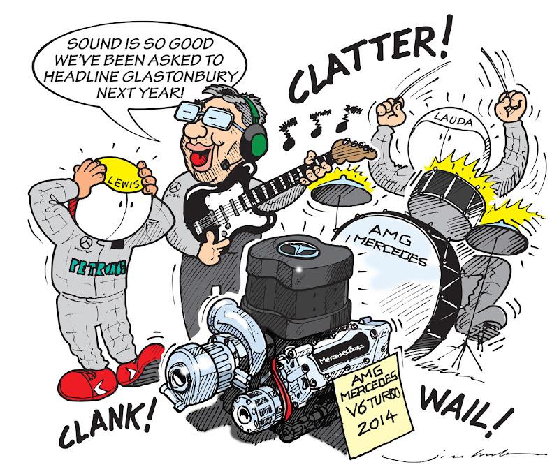 хороший звук нового мотора Mercedes V6 Turbo 2014 - комикс Jim Bamber