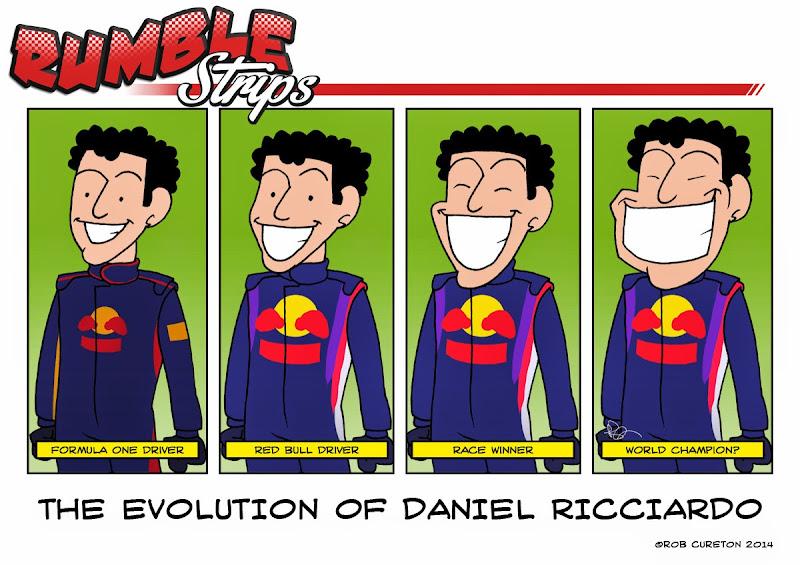 эволюция улыбки Даниэля Риккардо - комиксы Rumble Strips