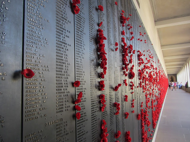 Poppies covering the Roll of Honour at the Australian War Memorial.