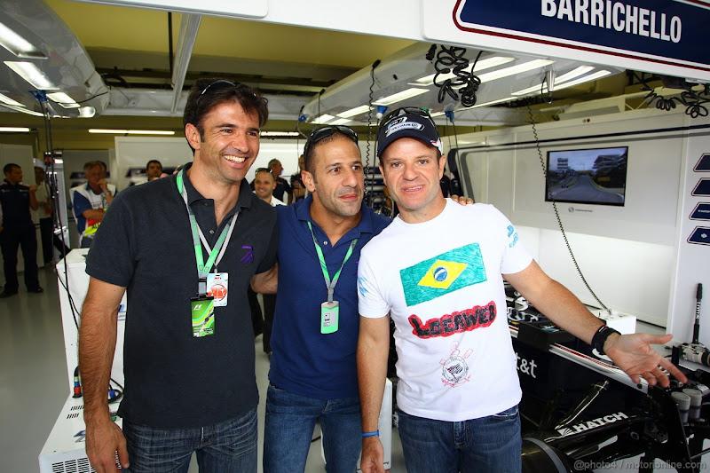 Тони Канаан и Кристиан Фиттипальди в гостях у Рубенса Баррикелло на Гран-при Бразилии 2011