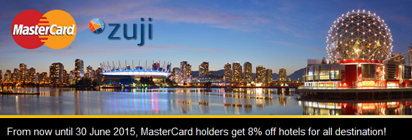 Zuji訂房折扣碼,憑折扣碼可享92折優惠,優惠期至2015年6月30日。