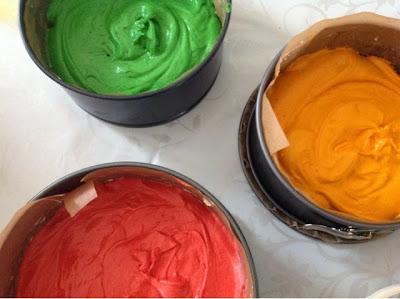 gekleurd cakebeslag