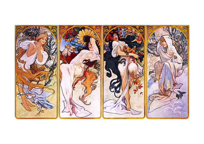 poster affiche satin e alfons mucha les quatre saisons art nouveau vintage. Black Bedroom Furniture Sets. Home Design Ideas
