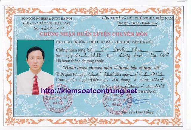 Chung nhan huan luyen chuyen mon ve thuoc BVTV