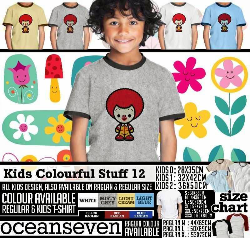 Kaos anak Kids Colourful 12 Lucu Gambar Mc Donald distro ocean seven
