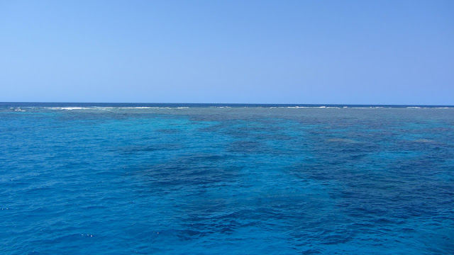 The clear and calm conditions on the day we visited the Great Barrier Reef.