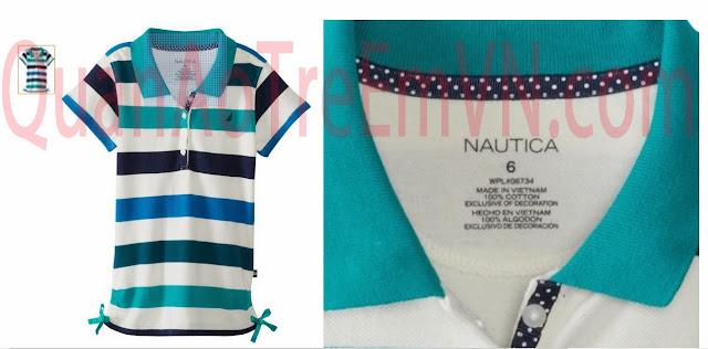 Áo thun Nautica bé gái, hàng xuất xịn, size từ 5T đến 12T, sọc xanh.w1