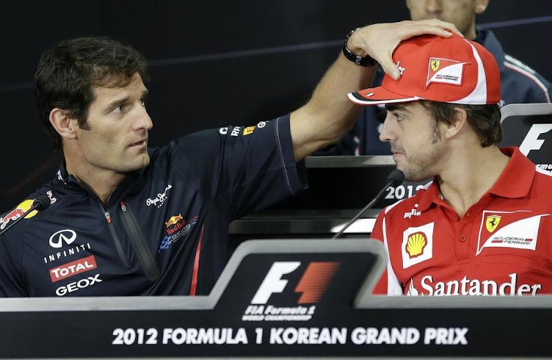 Марк Уэббер и Фернандо Алонсо на пресс-конференции в четверг на Гран-при Кореи 2012