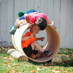 The natural playground area is wonderful for fostering active, social play!