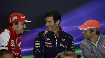 Фернандо Алонсо, Марк Уэббер и Дженсон Баттон на пресс-конференции в четверг на Гран-при Великобритании 2013