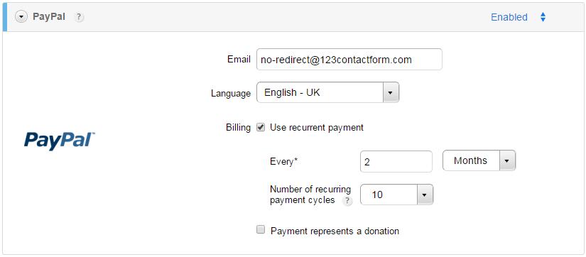 123ContactForm recurrent payments