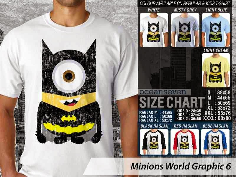 KAOS Minions Despicable Me Batman 6 Film Lucu distro ocean seven
