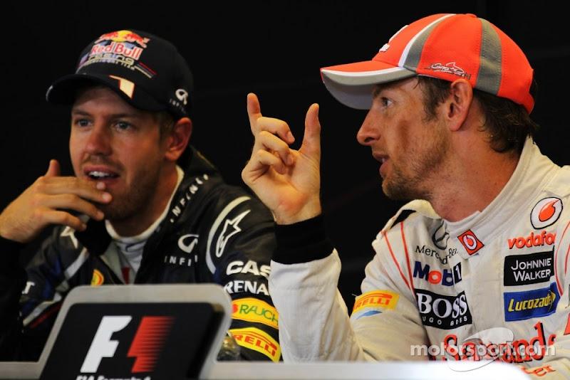 Себастьян Феттель и Дженсон Баттон на пресс-конференции после гонки на Гран-при Бельгии 2012