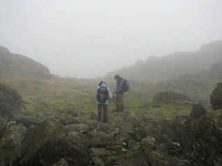 Harter Fell Summit when I arrived before cloud cleared!!