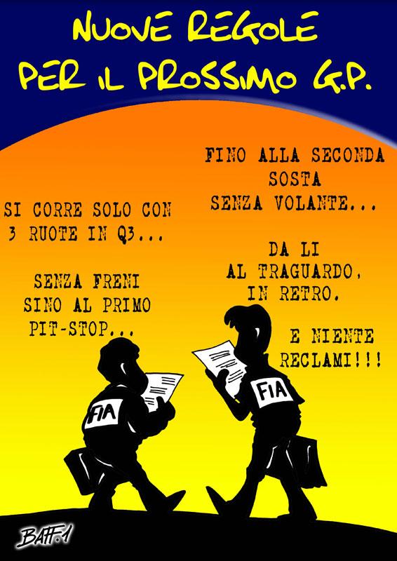 комикс Baffi о непредсказуемости FIA после Гран-при Великобритании 2011