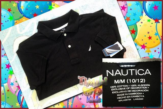 Áo thun bé trai cổ trụ hiệu Nautica, hàng xuất xịn, made in Campodia, màu đen.