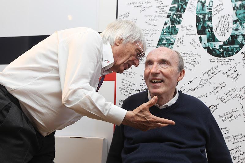 Фрэнк Уильямс и Берни Экклстоун на праздновании 70-летия на Гран-при Испании 2012