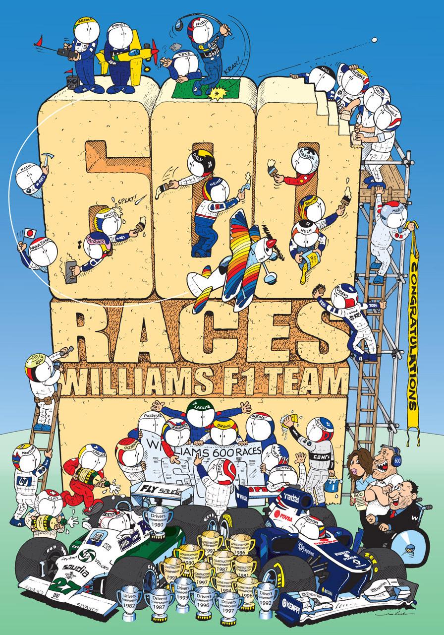 Williams достигает рубежа в 600 гонок - комикс Jim Bamber