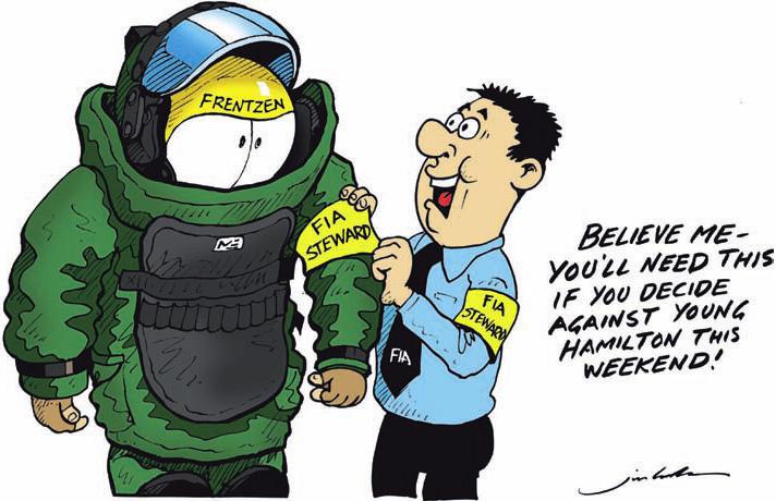 Хайнц-Харальд Френтцен готовится быть стюардом FIA на Гран-при Европы 2011 комикс Jim Bamber