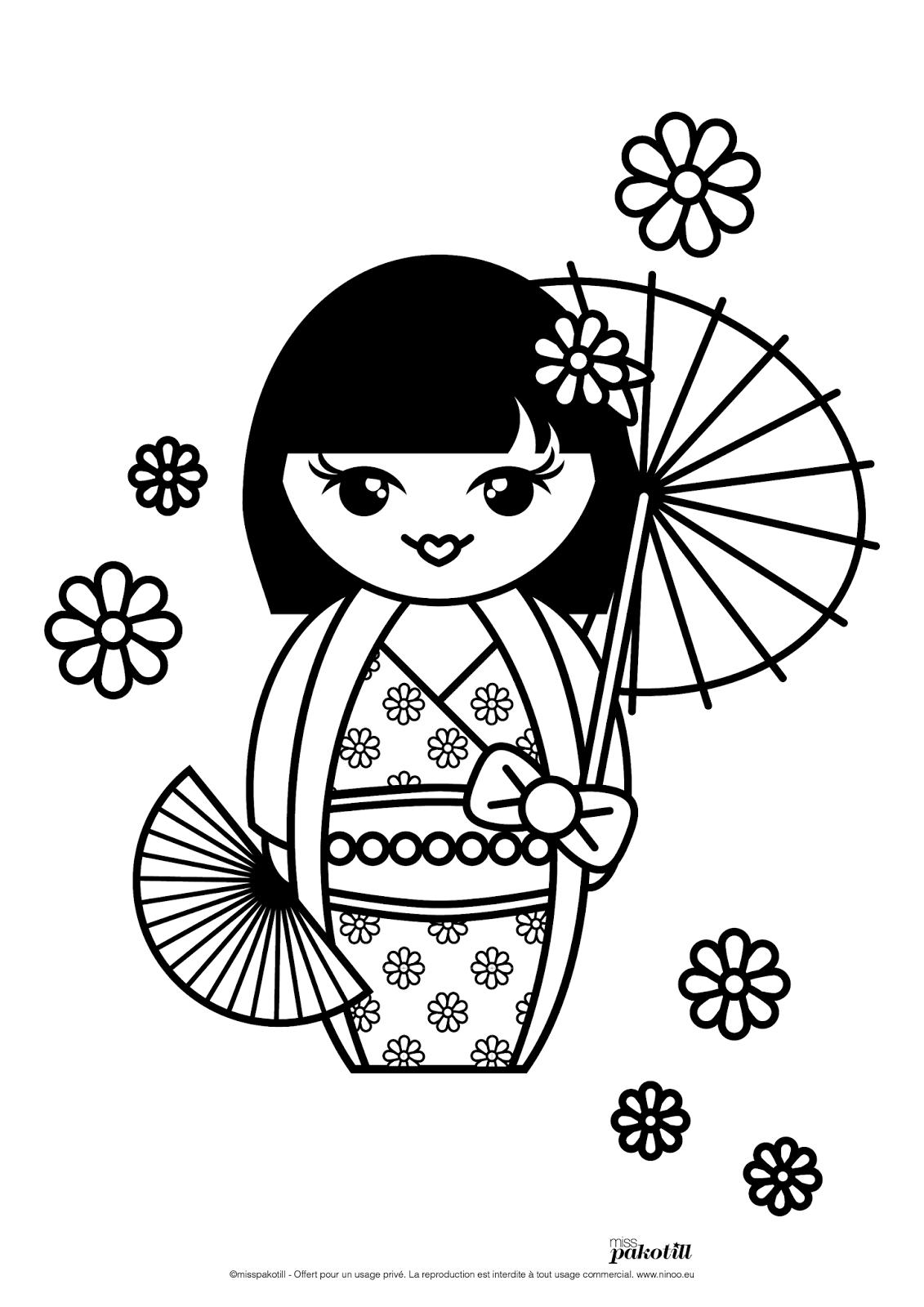 Dessin japonais a colorier - Coloriage japon ...