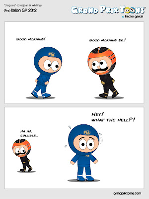 Ромэн Грожан обходит FIA на Гран-при Италии 2012 - комикс Grand Prix Toons