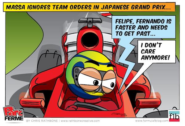Фелипе Масса игнорирует приказы Ferrari - комикс Chris Rathbone по Гран-при Японии 2013