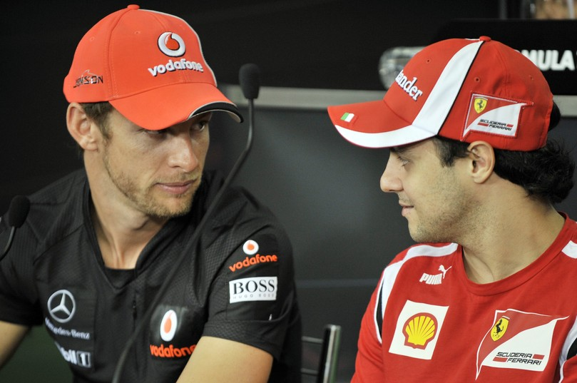 Дженсон Баттон и Фелипе Масса на пресс-конференции в четверг на Гран-при Бразилии 2011