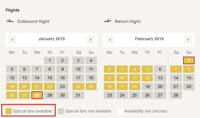 最優惠票價會顯示為黃色。swiss airlines